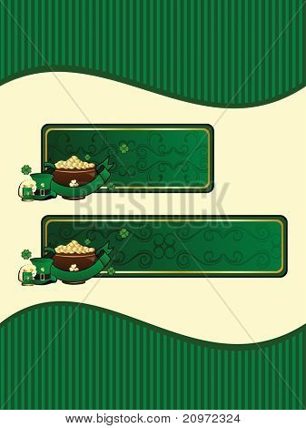 abstract background with set of two happy st. patricks day banner