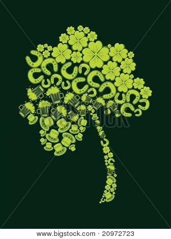 abstract green background with patrick day elements pattern isolated shamrock