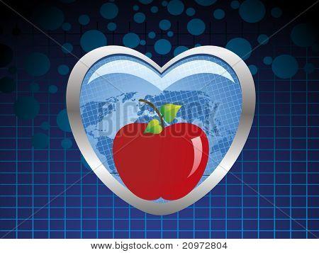 abstrakte blaue Punkte Hintergrund mit frischen roten Äpfeln in blaues Herz