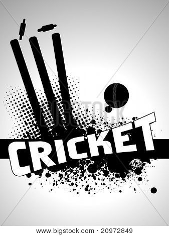 abstract grungy cricket background with stamp and leather ball, vector illustration