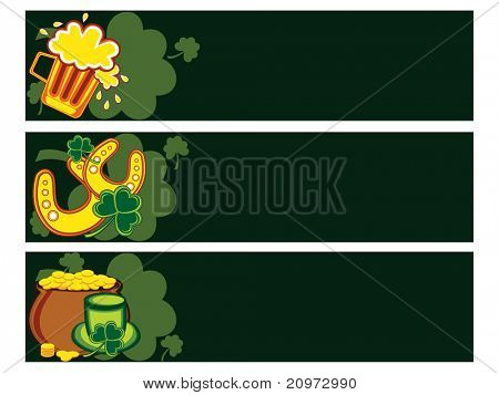 background with set of three patrick day banner, vector illustration