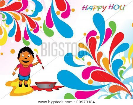 abstract colorful artwork background with boy playing holi, vector illustration