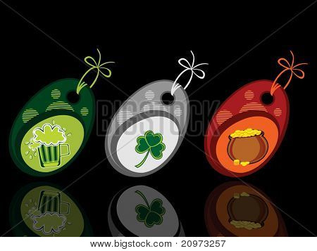 abstract black background with set of three patrick day tags