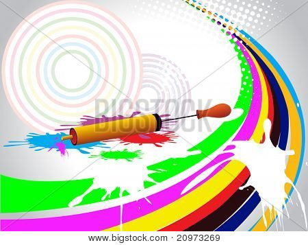 abstract colorful grunge background with isolated water gun, vector illustration