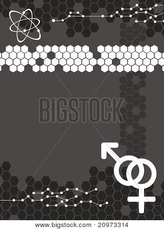 abstract black honeycomb background with atomic structure, male female symbol