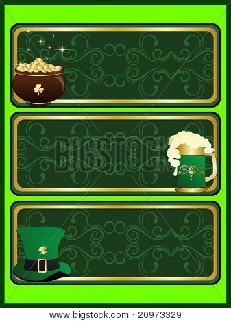 vector background with set of three happy st patrick day banner