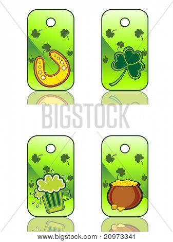 white background with set of three st. patrick's day tag, illustration