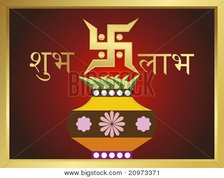abstract background with decorated kalash and swastika