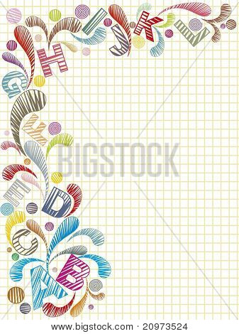 abstract background with colorful artwork, alphabet, vector illustration