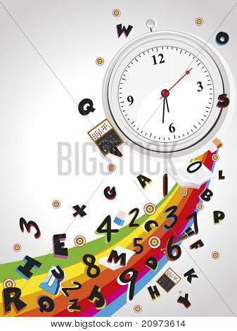 rainbow background with isolated watch, alphabet, numbers and education supplies