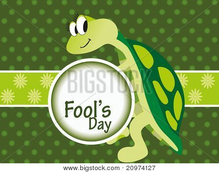 abstract artwork background with cute tortoise holding fools day frame
