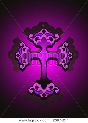 shiny purple background with isolated cross, vector illustration