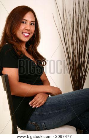Beautiful Model Sitting Down