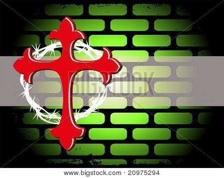 abstract grungy wall background with isolated red cross, crown of thorns