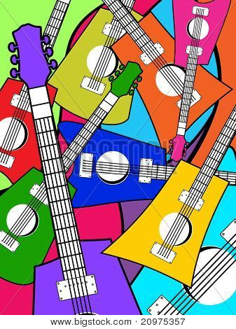 abstract colorful guitar pattern background, vector illustration