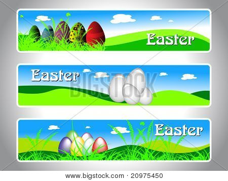 easter scenery concept background banner, vector illustration