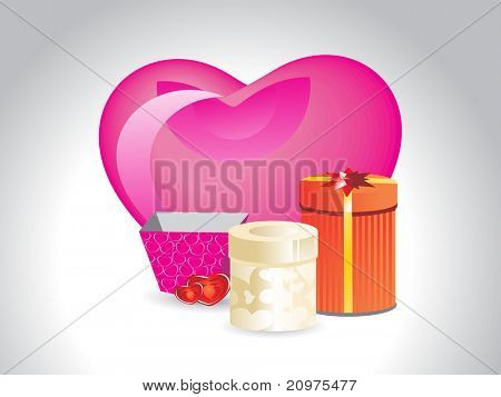 abstract grey background with big pink heart, collection of gift box
