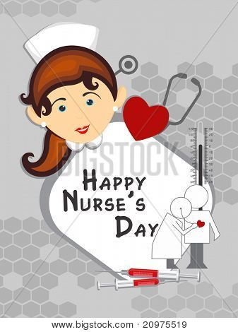 grey honeycomb background with medical supplies, nurse face, vector illustration