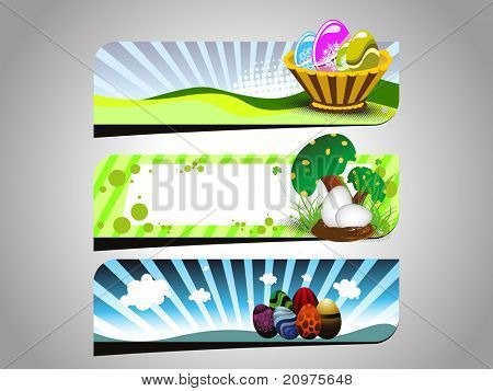 grey background with set of three easter header, vector illustration