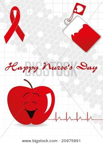abstract grey honeycomb background with medical tag, apple and hiv ribbon