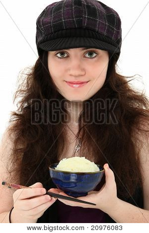 Beautiful 18 Year Old With Bowl Of Rice And Chop Sticks