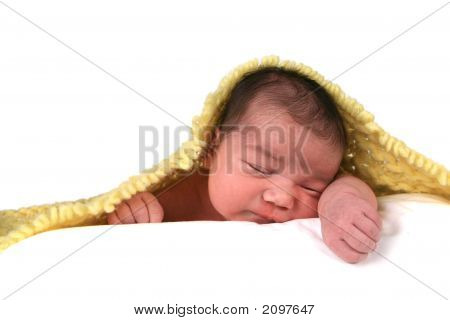 Infant Baby Girl On White Background