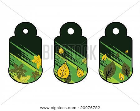 white background with set of two go green tags