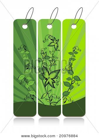 white background with set of three creative natural concept banner, vector illustration