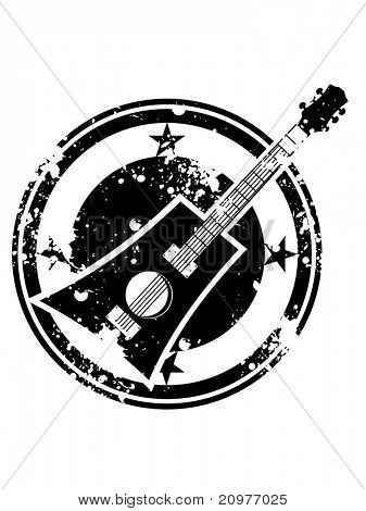 abstract white background with grungy musical stamp, illustration