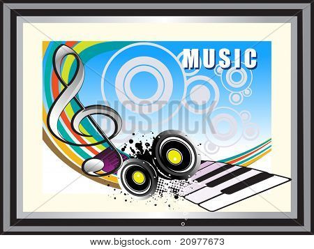 abstract grungy musical background with vinyl, piano