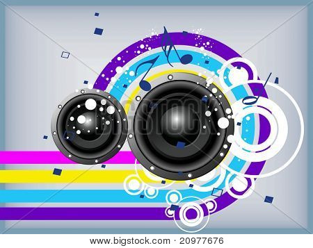 abstract colorful background with musical notes and speaker, vector illustration
