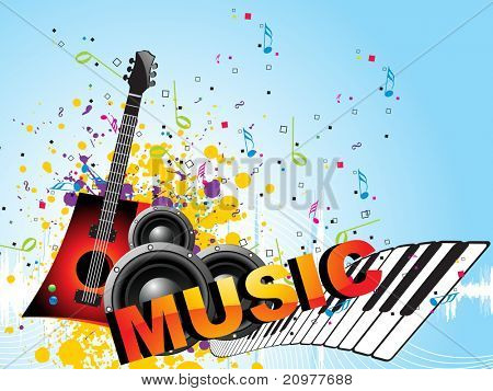 abstract grungy, colorful musical notes background with speaker, piano and guitar