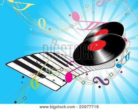 abstract rays background with colorful musical notes, piano and vinyl