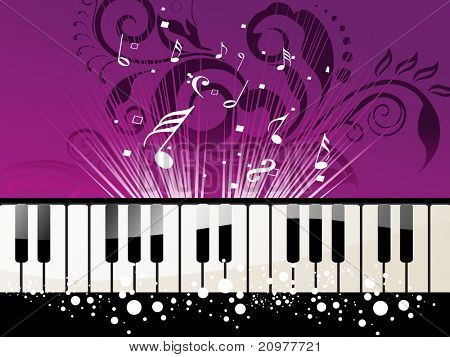 creative floral background with musical notes, piano
