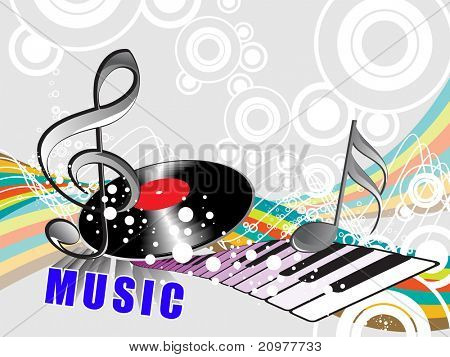 abstract musical background with vinyl, piano, vector illustration