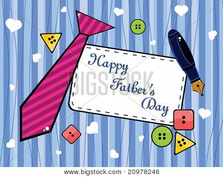 background with colorful button, tie and pen concept for father's day