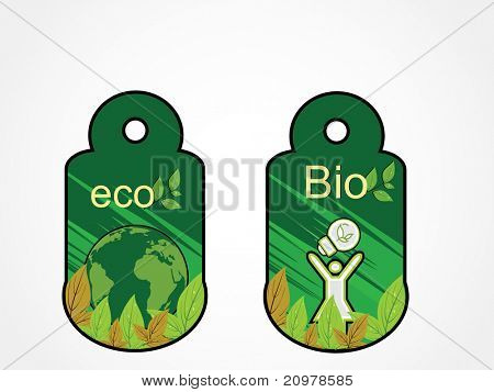 abstract white background with set of two ecology concept sale tag