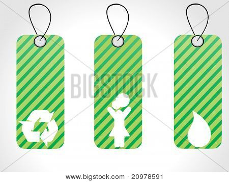 abstract white background with set of three green sale tag