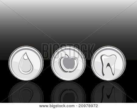 abstract black background with set of three medical icons
