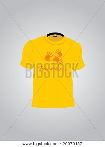 abstract grey background with isolated yellow tshirt