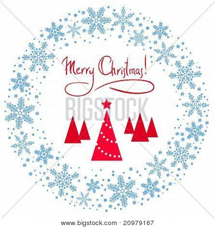 Vektor Weihnachtskranz mit roter Baum und Stern