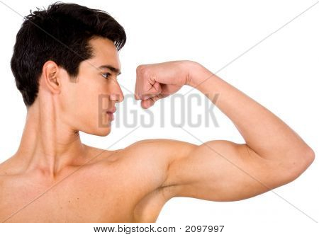 Fit Guy Showing His Biceps