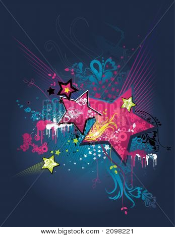 Background With Stars, Vector