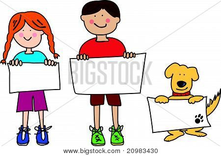 Cartoon Kids And Dog Holding Blank Signs.