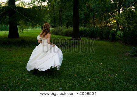 Wedding Concept - Bride In Wedding Dress