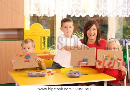 Preschoolers And Wooden Blocks