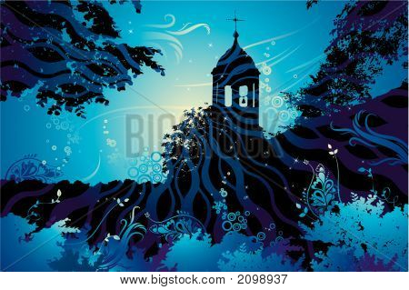 Landscape With Church, Vector