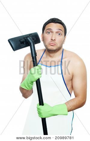 unhappy man with vacuum cleaner