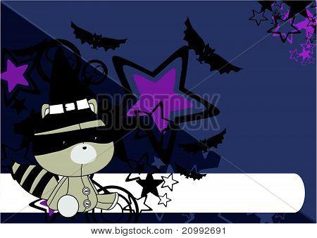 raccoon  witch plush cartoon background