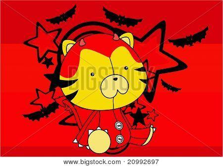 tiger  demon plush cartoon background